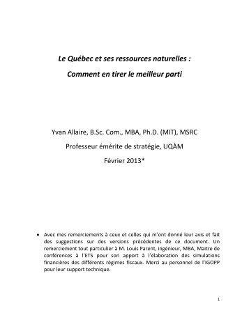 Le Québec et ses ressources naturelles - Ministère du Conseil exécutif