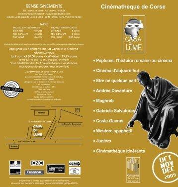 Oct Nov Dec 2009 - Cinémathèque de Corse