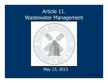 Article 11. Wastewater Management - Town Of Orleans
