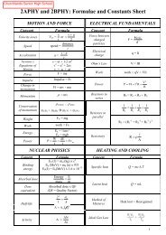 Physics Year 11: Formulae and Constants Sheet