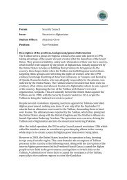 Forum: Security Council Issue: Situation in Afghanistan ... - MUNOL