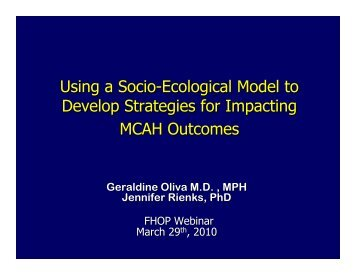 Using a Socio-Ecological Model to Develop Strategies for ... - FHOP