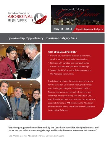 Sponsorship opportunity: inaugural calgary gala - Canadian Council ...