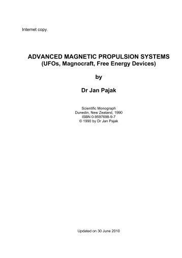 Advanced magnetic propulsion systems ufos