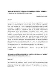 REPRESENTAÇÕES SOCIAIS, EDUCAÇÃO E FORMAÇÃO ...