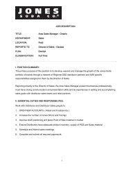 JOB DESCRIPTION TITLE: Area Sales Manager ... - Jones Soda