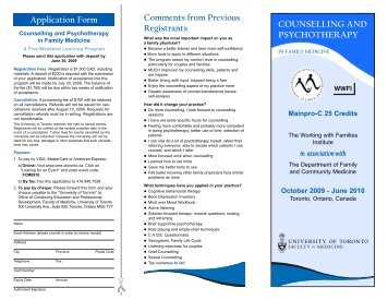 counselling and psychotherapy - CEPD University of Toronto