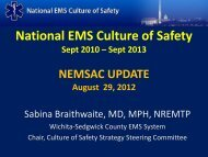 National EMS Culture of Safety - NHTSA EMS