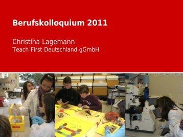 Vortrag: Absolventin Christina Lagemann
