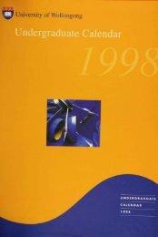 Postgraduate Calendar 1999 - Library - University of Wollongong