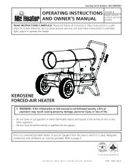 OpERATING INSTRuCTIONS AND OWNER'S MANuAl