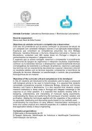 Unidade Curricular: Laboratórios Biomoleculares I / Biomolecular ...