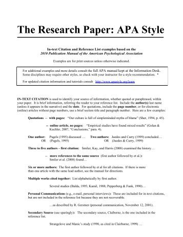 writing research papers apa style guide