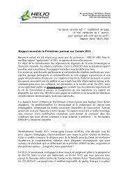 Rapport moral de la Présidente portant sur l'année 2011 - HELIO ...