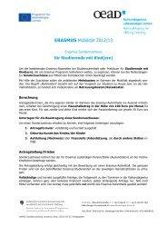 Erasmus Sonderzuschüsse für Studierende mit Kind