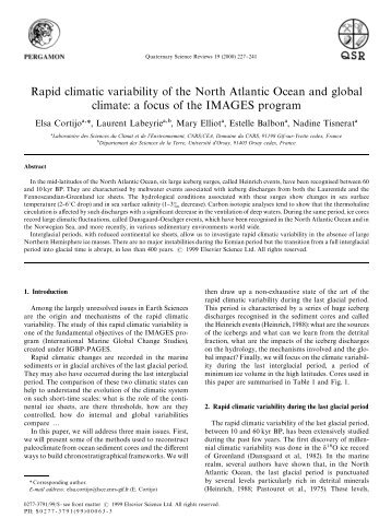 Rapid climatic variability of the North Atlantic Ocean and ... - sages
