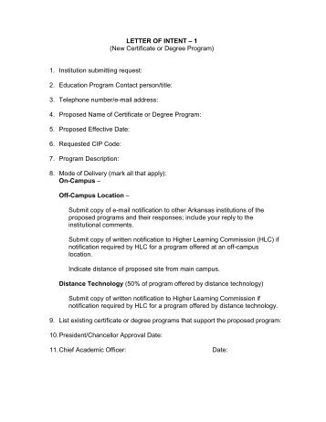 letter of intent to submit thesis