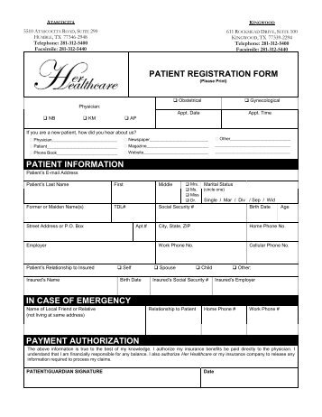 Patient Registration Form Master ShengLi Wang