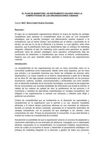 1 EL PLAN DE MARKETING. UN INSTRUMENTO ... - Gestiopolis