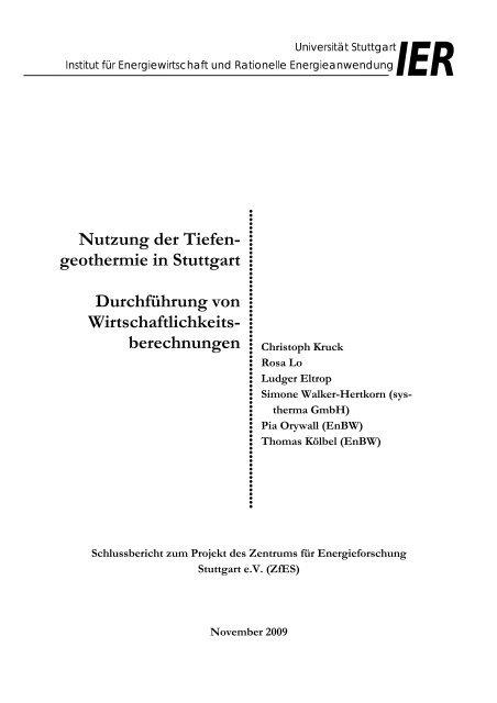 Nutzung der Tiefen- geothermie in Stuttgart Durchführung von ...