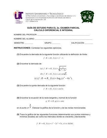 Cálculo Diferencial e Integral - Instituto Universitario y Tecnológico ...