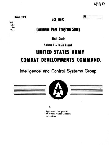 US Army Combat Development Command 1973, Volume I