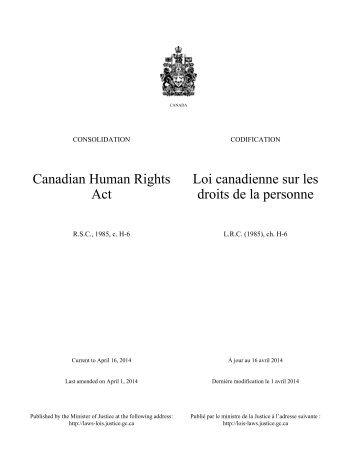 Loi canadienne sur les droits de la personne - Lois du Canada ...
