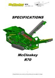 SPECIFICATIONS McCloskey R70 - Best Machinery Kft.