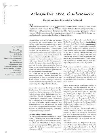 Alternative oder Glaubenssache - Silvia Mosen / Praxis FRAUEN ...
