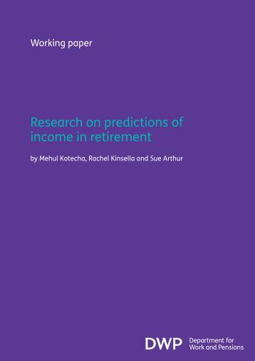 Research on predictions of income in retirement - Social Welfare ...