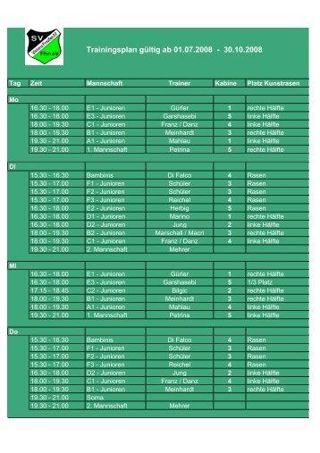 Trainingsbelegung Sportanlage 2008-2009