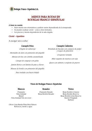 menus para bodas en bodegas franco españolas - Bodaclick