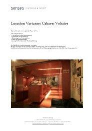Location Variante: Cabaret Voltaire - Senses Catering
