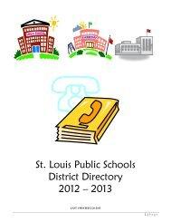 St. Louis Public Schools District Directory 2012 – 2013