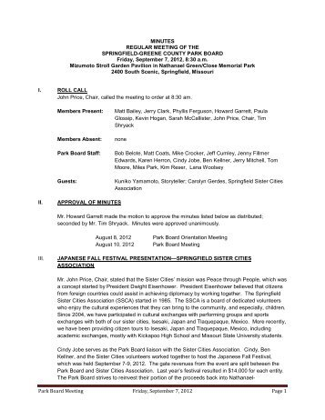 Park Board Meeting Friday, September 7, 2012 Page 1 MINUTES ...
