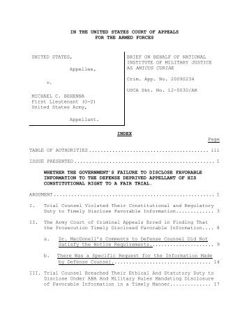 Amicus Curiae Brief - U.S. Court of Appeals for the Armed Forces