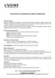 INITIATION AUX TECHNIQUES DE CINEMA d'ANIMATION - Afca