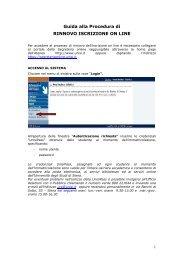 Guida alla procedura on line per l'iscrizione agli anni successivi al ...