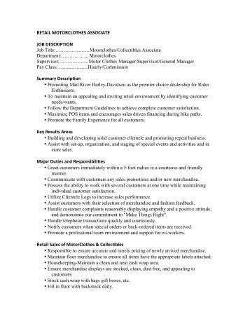 Retail Motorclothes Associate Job Description Job Title   Production  Associate Job Description