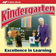 Kindergarten - Excellence in Learning - A Beka Book
