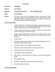 Job Description Position Title: Case Manager Reports to: Case ...