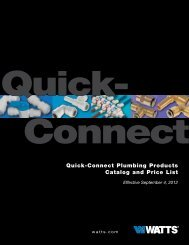 Quick-Connect - Watts Water Technologies, Inc.