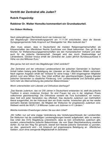 Vertritt der Zentralrat alle Juden? - Rabbiner Dr. Walter Homolka