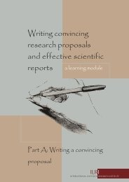 Writing convincing research proposals and effective scientific reports