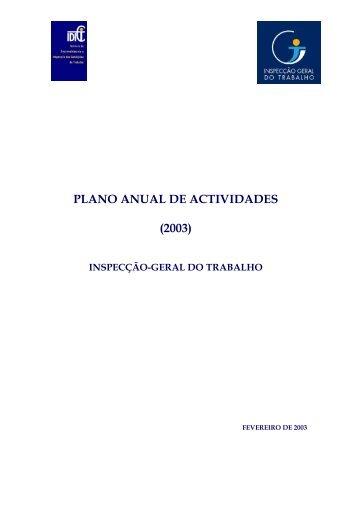 PLANO ANUAL DE ACTIVIDADES - Autoridade para as Condições ...
