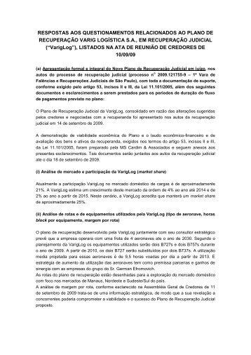 Respostas aos questionamentos relacionados ao plano de - Varig Log