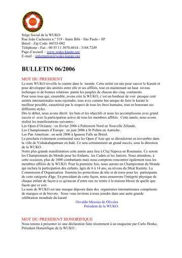 Bulletin WUKO - WUKF - World Union of Karate-Do Federations