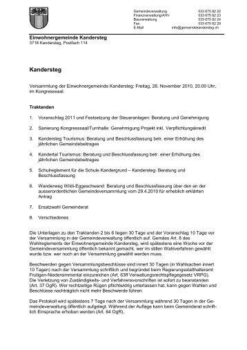 Gemeindeversammlung - Einwohnergemeinde Kandersteg