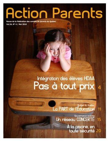Action Parents 2010-05 Vol.34, no.4 - Fédération des comités de ...