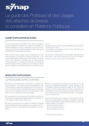 Le guide des Pratiques et des Usages des attachés de presse et ...